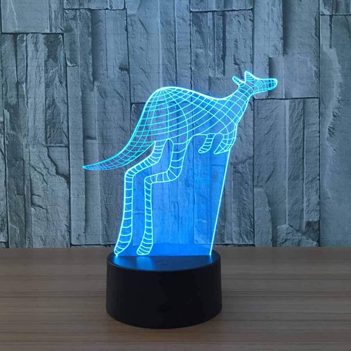 ZCXBHD 3D Illusion Lamp Kangaroo Led Night Light, USB Powered 7 Colours Flashing Touch Switch Bedroom Decoration Lighting for Kids