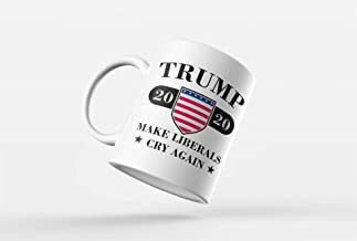 Trump 2020 Funny Make Liberals Cry Again Coffee Mug | MAGA 20' 11 Ounce Coffee Mug | Conservative Republican Election Voters Keep America Great Donald | CM1070