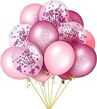 EKKONG Globo Cumpleaños 1 año, 15 Piezas Globos de Cumpleaños con Confeti, 12 Pulgadas Globos Helio de Látex, para Decoración de 1er Cumpleaños de Niño y Niña, Baby Shower, Fiesta Aniversario Boda