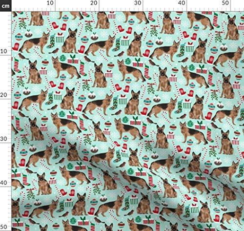 Schäferhund, Hunde, Hunde Stoff, Weihnachtsstoff Stoffe - Individuell Bedruckt von Spoonflower - Design von Petfriendly Gedruckt auf Baumwoll Spandex Jersey