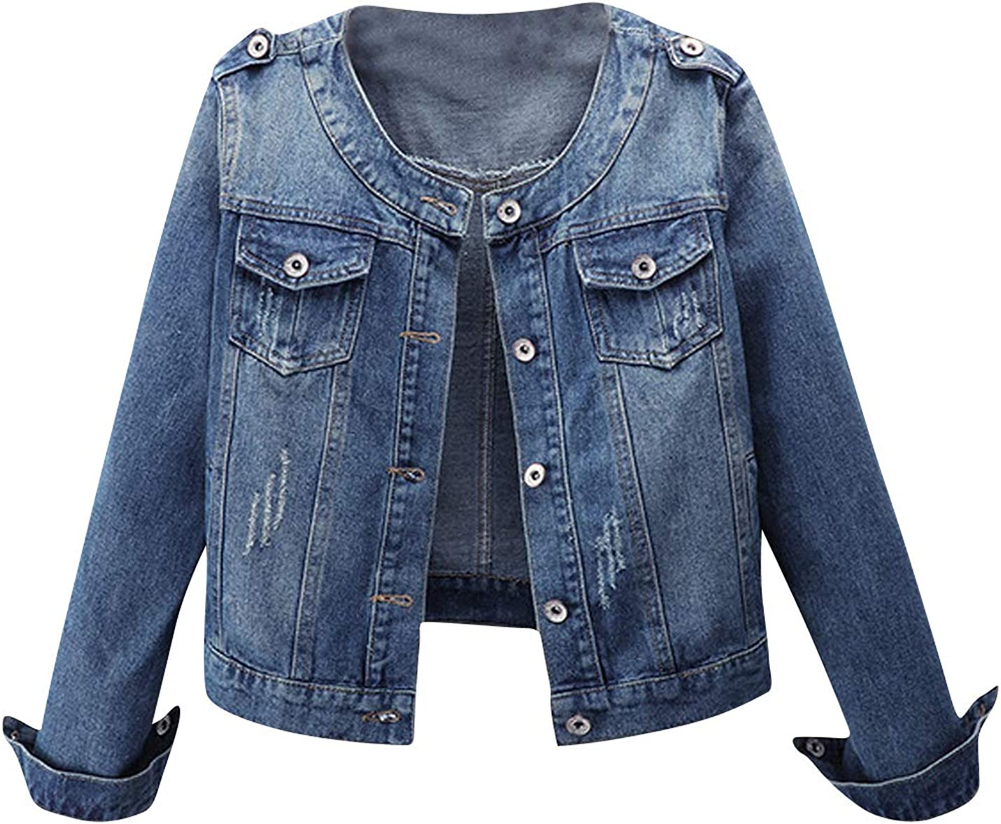 ZGZZ7 Women's Casual Vintage Denim Jackets Buttons Frayed Outerwear Jean Trucker Jacket Coats