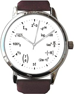 Math Dial Watch Shows Math Equations at Each Hour Indicator on The White Dial of The Large Polished Chrome Watch with Smooth Brown Leather Strap