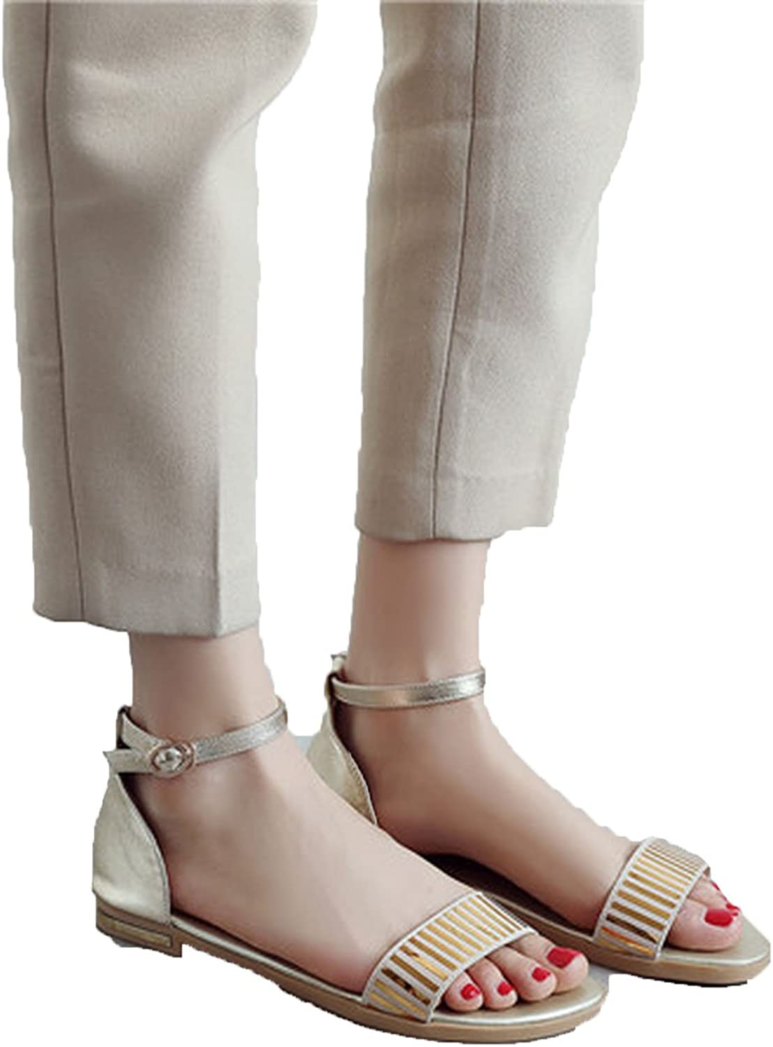 Running-sun Women Sandals Summer Genuine Leather Buckle Strap High Heel Pumps Woman shoes Plus Size,gold is Pu,9.5