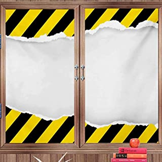 DearestLove Glass Film Construction,Ripped Paper with Construction Sign Safety Warning Alert Framework,Yellow Black White Easy RemovalW24 xH36