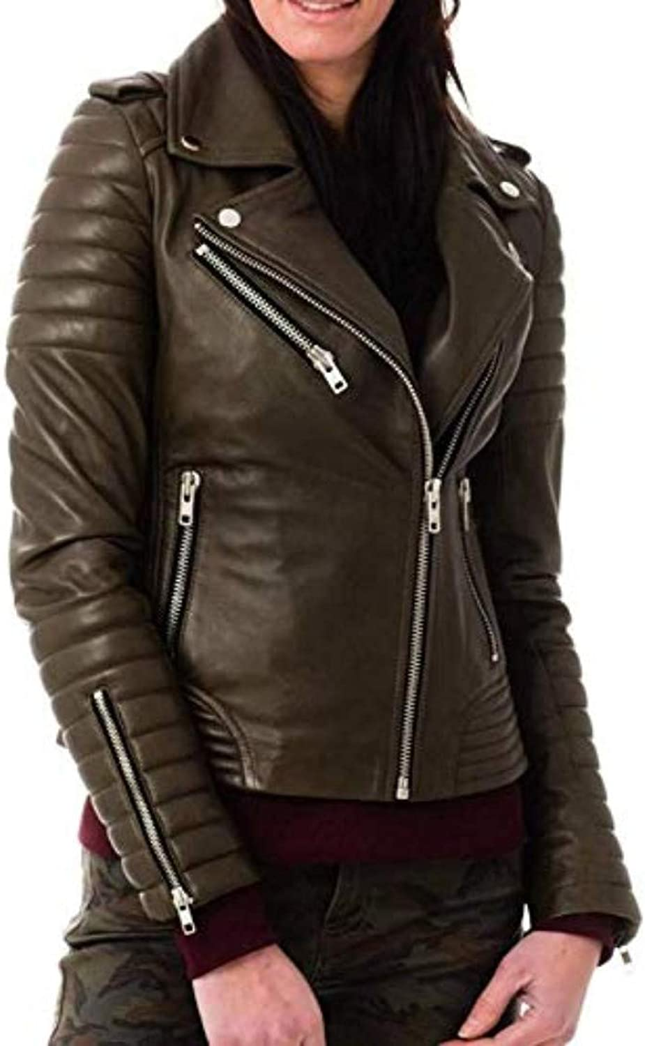 New Fashion Style Women's Leather Jackets Moss I25_