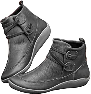 ⭐ Futurelove ⭐ 2019 New Arch Support Boots, Women's Autumn and Winter Comfy Casual Short Flat Boots Classic Side Zipper PU Width Brie Ankle Booties