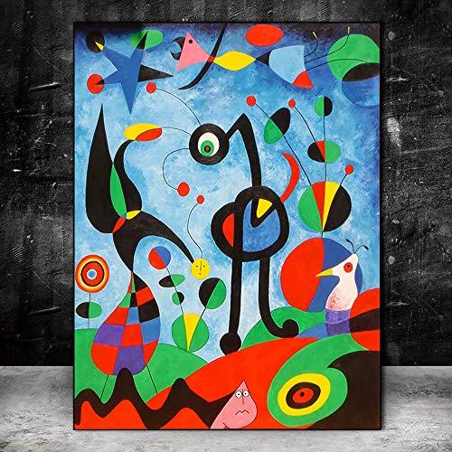 YHZSML The Garden 1925 por Joan Miro Reproducciones de Obras de Arte Famosas Pinturas abstractas en Lienzo de Joan Miro Cuadros de Pared Decoración de Pared para el hogar 50x70cm