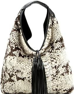 Boho Tassel Faux Fluffy Fur Leopard Snake Print Vegan Leather Hobo Bag Purse