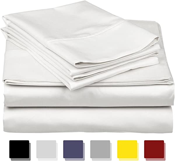 True Luxury 1000 Thread Count 100 Egyptian Cotton Bed Sheets 4 Pc Queen White Sheet Set Single Ply Long Staple Yarns Sateen Weave Fits Mattress Upto 18 Deep Pocket