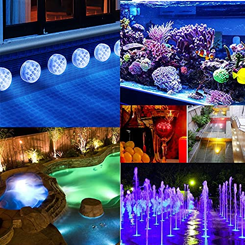 EAANTOP 2Pack Submersible Led Pool Lights, Waterproof Bathtub Light, LED Lights, 16 Colors Underwater Pond Lights with Remote, Magnet,Suction Cups,for Swimming Pool,Hot Tub,Fish Tank,Fountain