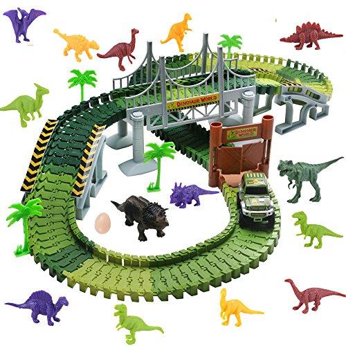 WoBoSen Pista Macchinine Elettriche Auto Veicoli Dinosauro Pista Flessibile Giocattoli per Bambini 3 4 5 Anni,142 PCS (Dinosauro Pista)