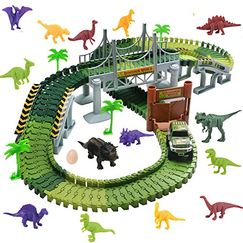 Harxin Circuito Coches Juguete Pista de Dinosaurio Coche Eléctrico DIY Conjunto de Juguete para Niños 3 4 5 6 Años (Pista de Coche)