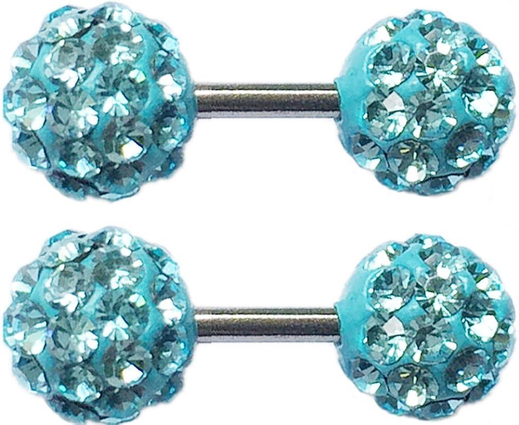 Thenice 1 Pair Earrings Full Crystal Barbell Ear Bone Screws 6mm Double Ball (Blue Lake)