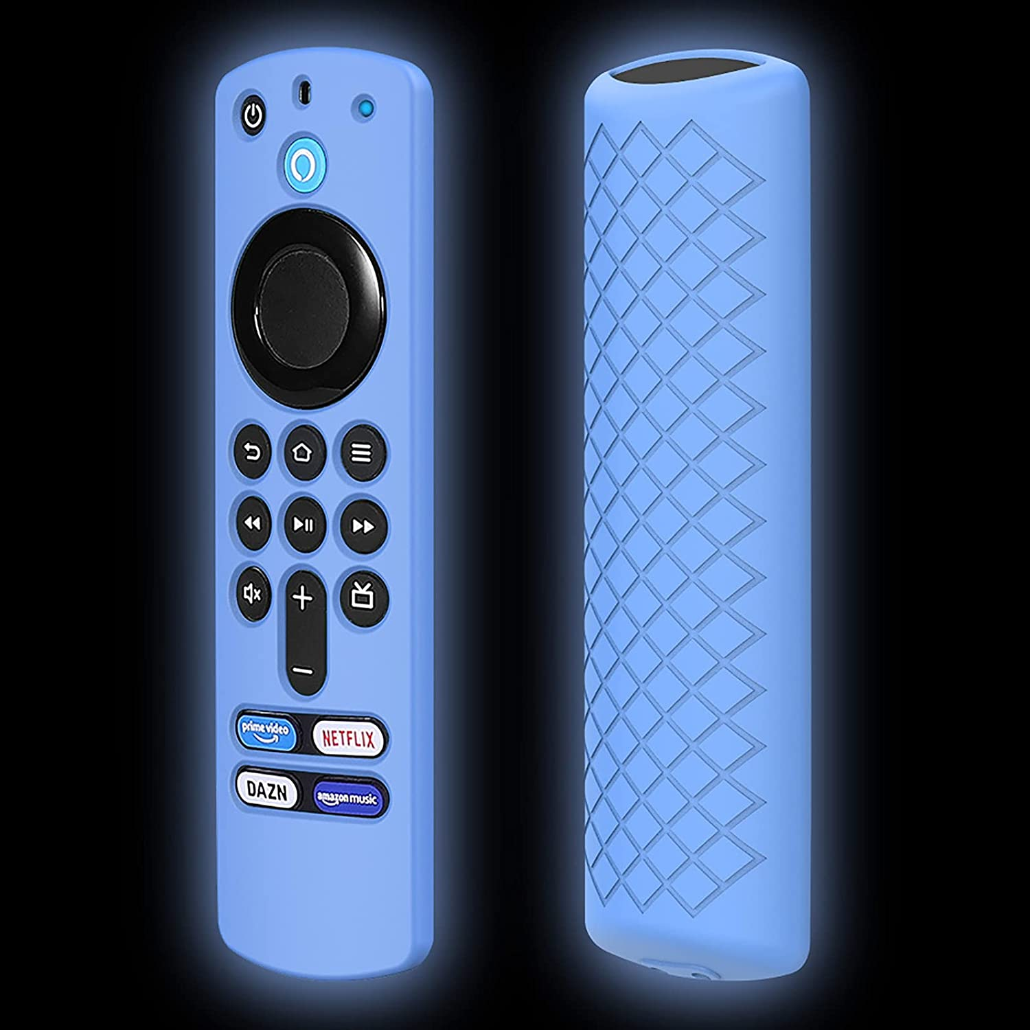 Remote Case Replacement for FireTVstick (3rd Gen) 2021 Release Alexa Voice Remote (3 Generation), Blue Silicone Protective Cover Skin Glow in Dark with Lanyard - LEFXMOPHY