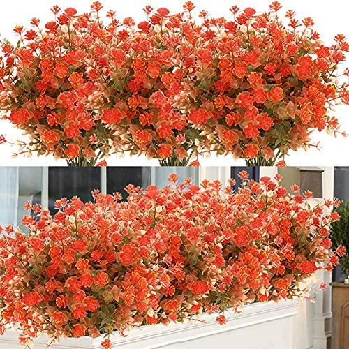 Ancokig Künstliche Blumen,4 Stück Kunstblumen Grün UV-beständige Pflanzen Sträucher Unechte Blumen Innen Draussen für Zuhause Garten Braut Hochzeit Party Dekor (Herbstrot)