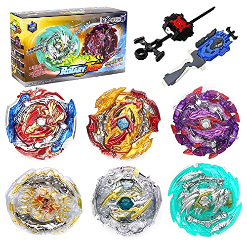 Ingooood Metal Master Fusion Gyro Toys for Kids, 6 Pieces Battling Top Battle Burst High Performance Set with 2 Launchers