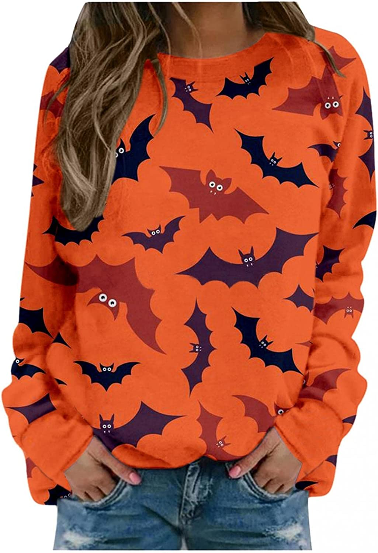 Women's Fashion Pullover Hoodies Plus Size Trendy Graphic Sweatshirt Halloween Skeleton Pumpkin Print Fashion Tops