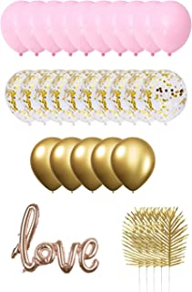 ZSGS Macaron Pink Gold Balloons Decorations Set Gold Metal labex Balloon and Gold Sequined balloon Champagne Conjoined LOVE Aluminum balloon with 3 Color Latex balloon for Party Supplies Happy birthday party The wedding party(124pcs)