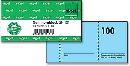 SIGEL GN101 Nummernblock, 100 Bons (Nr. 1 - 100, 10,5 x 5 cm