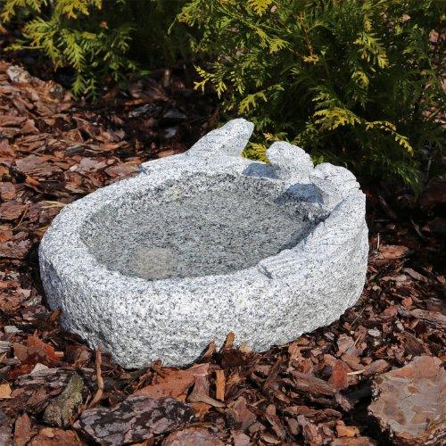 CLGarden Granit Vogeltränke M3 Vogelbad Vogel Tränke Bad aus Naturstein