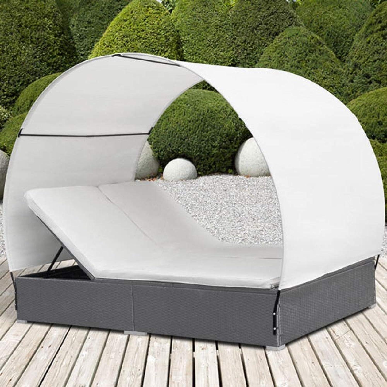 Polyrattan Sonnenliege  Grau, mit Dach, für 2 Personen, 2 x Liegeauflage  Rattan Doppel-Sonnenliege, Doppelliege, Gartenliege, Rattanliege, Gartenmbel Set