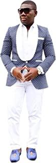 YZHEN Hombre Traje de Puntos de 2 Piezas Un botón Chal Solapa Chaqueta de Esmoquin de Ajuste Moderno Pantalones