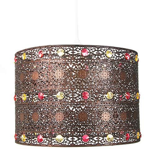 Lámpara colgante de araña al estilo marroquí de acrílico con acabado de bronce antiguo. por Happy Homewares