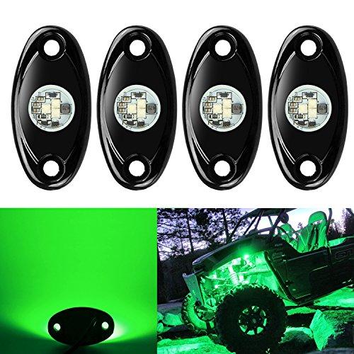 4 Pods LED Rock Lights, Ampper Waterproof LED Neon Underglow Light for Car Truck ATV UTV SUV Offroad Boat Underbody Glow Trail Rig Lamp (Green)