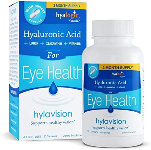 wholesale HylaVision Eye Health Supplements: Hyaluronic Acid, Lutein and Zeaxanthin Dietary Supplements for wholesale Vision Support (120 Capsules)— Vegan wholesale Formula by Hyalogic outlet sale