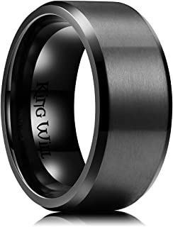 King Will Mens 6mm/7mm/8mm/9mm/10mm Black Titanium Ring Brushed Matte Finish Comfort Fit Wedding Band