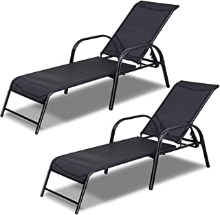 Tangkula Patio Chaise, Set of 2, Back Adjustable Weatherproof Recliner Outdoor Lounger Chair, for Poolside Garden Balcony, Heavy Duty Steel Frame Outdoor Lounger Chairs