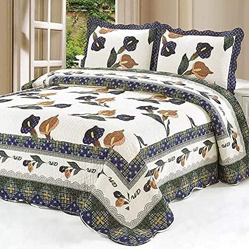 YEE Juego de 3 piezas, 100% algodón, reversible, ligero, suave, hecha a mano, funda de cama (230 x 250 cm, fundas de almohada (50 x 70 cm)