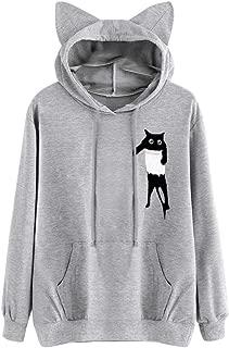 LONGDAY Cute Cat Printing T ShirtWomen's Fall Long Sleeve Casual Sweatshirt Drawstring Pullover Tunic Tops Hoodies