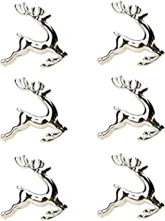 SCTD Napkin Rings Set of 6 - Deer Napkin Ring Holders for Hotel Holiday Wedding Party Dinning Table Decoration (Silver)