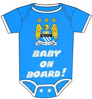 Manchester City FC Official Football Kit Baby On Board Car Window Sign