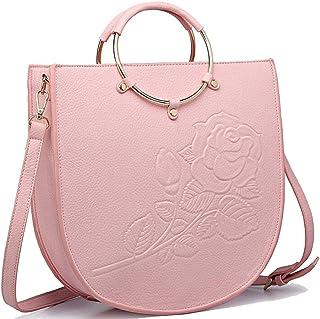 Trendy Ladies' Ring Tote Print Embossed Flower Bag Dinner Shoulder Bag Zgywmz (Color : Pink, Size : 31 * 10 * 32cm)