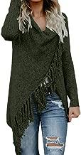 Severkill Women's Tassel Hem Sweater Long Cardigan Knitwer Pullover Poncho Coat Long Sleeve Retro Outwear