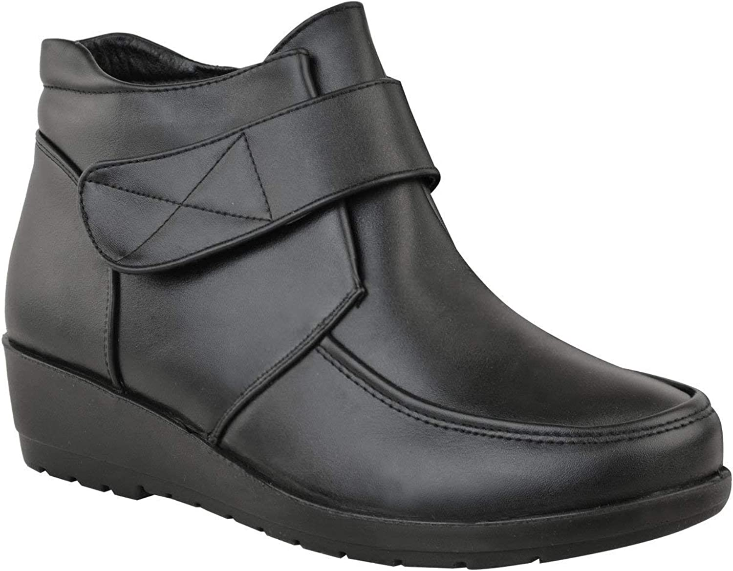 Ghapwe Womens Mid Wedge Heel Ankle Boots Comfort School Work Bar Size Black Faux Leather 10 M US
