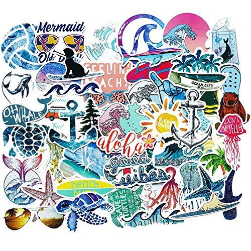 50 Stück Summer Beach Aufkleber Surfen Meeresschildkröte AufkleberVSCO Für Laptop Kühlschrank Telefon Skateboard Koffer Mädchen Flasche Aufkleber F3