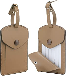 Kevancho Leather Smart Luggage Tags for Men Women, Suitcase Labels Baggage Tote Bag Tag ID Tags with Full Back Privacy Cover for Carnival Cruise Ships, Away Travel Accessories Tags Set of 2 PCS (Tan)
