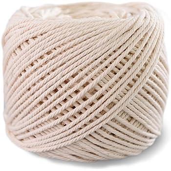 SUNTQ Cordón de macramé Algodón de poliéster trenzado de 4 hilos 3mm x 100m Cuerda de algodón suave para colgar plantas artesanales Colgar artesanías, decoración de tejer, hilo de algodón Beige: Amazon.es: