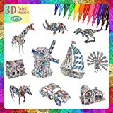 FUNWISH 3D Coloring Puzzle Set, Painting Puzzles with 10 Kits, Suitable for Girls and Boys Aged 6 7 8 9 10 11 12 Years Old. Creativity DIY Gift, Drawing Kit for Kids, Birthday Toy Gift for Kids.
