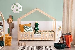 Lit Enfant cabane en Bois Massif avec barrières 70 x 160 cm; modèle SK; Couleur Marron