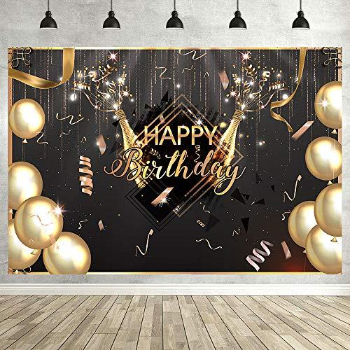 Avezano - Lienzo de fondo negro y dorado con globos de champ
