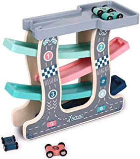 MingTa Wooden Ramp Race Toy Track Car for Boys and Girls 1-2-3 Years Old Early Education Birthday Gift Funny Glider