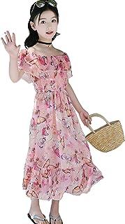 Lisa Pulster 女の子 花柄 ワンピース シフォンロング丈 ゆったり 子供ドレス ガールズ レディース キッズ 夏 肩開き おしゃれ 旅行 温泉 可愛い 身長120-160CM