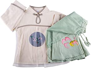 Hello Shero Girls Clothing Sets Long Sleeves Mandarin Collar Frog-Button Dress Chic Floral Print Chiffon Skirts Cotton Linen