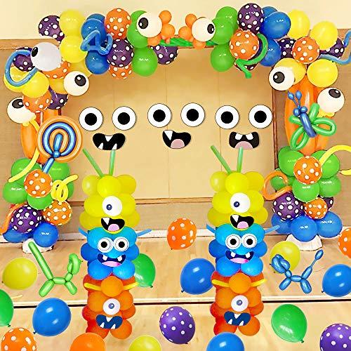 SPECOOL Monster Decorazione di Palloncini per Feste di Mostri, DIY Primo Compleanno di Monster Palloncini in Lattice per Monster Bash Party Pack per Bambini Compleanno Baby Shower per Feste