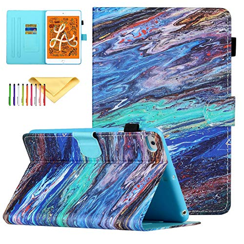 Uliking Case Compatible with Apple iPad Mini 5/4/3/2/1 Smart Shell Stand PU Leather Cover with Pencil Holder, Color Marble
