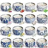 Las velas de aromaterapia aumentan el ambiente fes Conjunto de vela perfumada de 16 piezas, vela sin humo, cera de soja Tapa portátil Tin Altamente FRANGRANTE Tiempo de larga duración regalos para ell